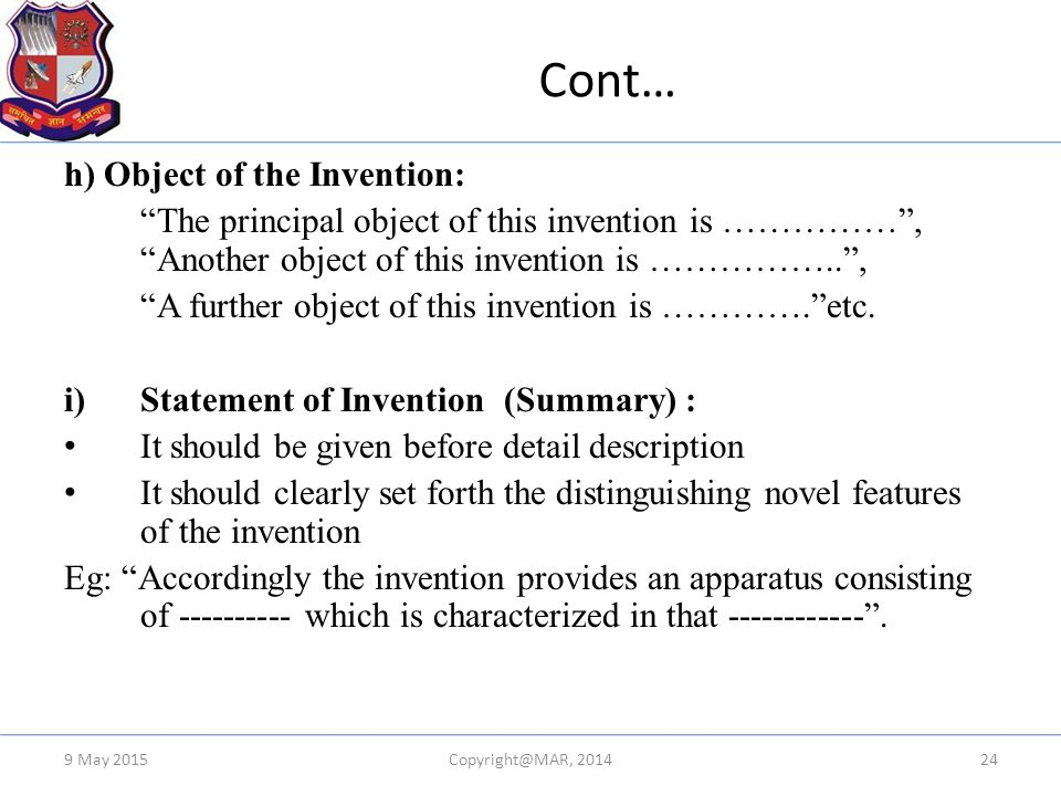 Cont… h) Object of the Invention: