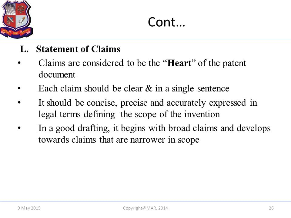 Cont… L. Statement of Claims