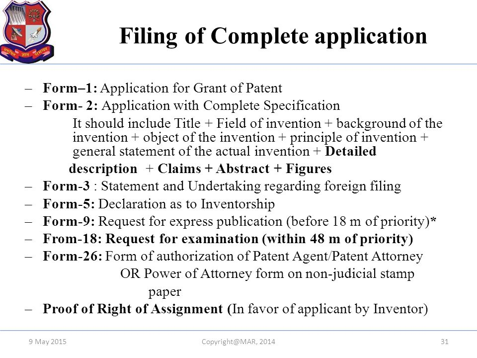 Filing of Complete application