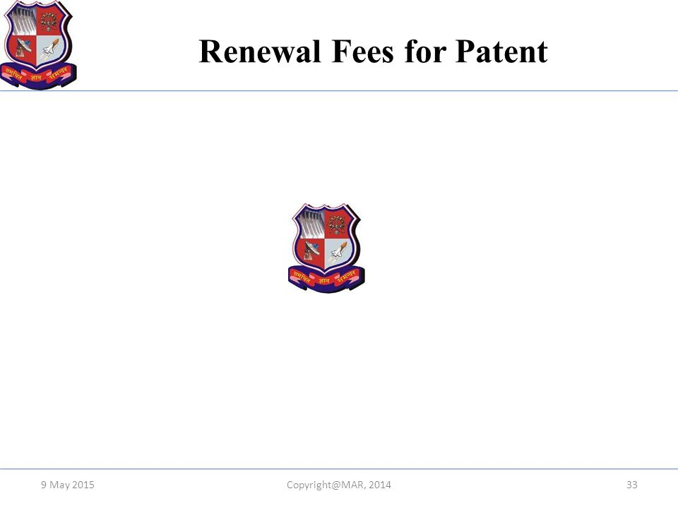Renewal Fees for Patent