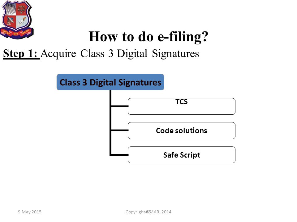 How to do e-filing Step 1: Acquire Class 3 Digital Signatures