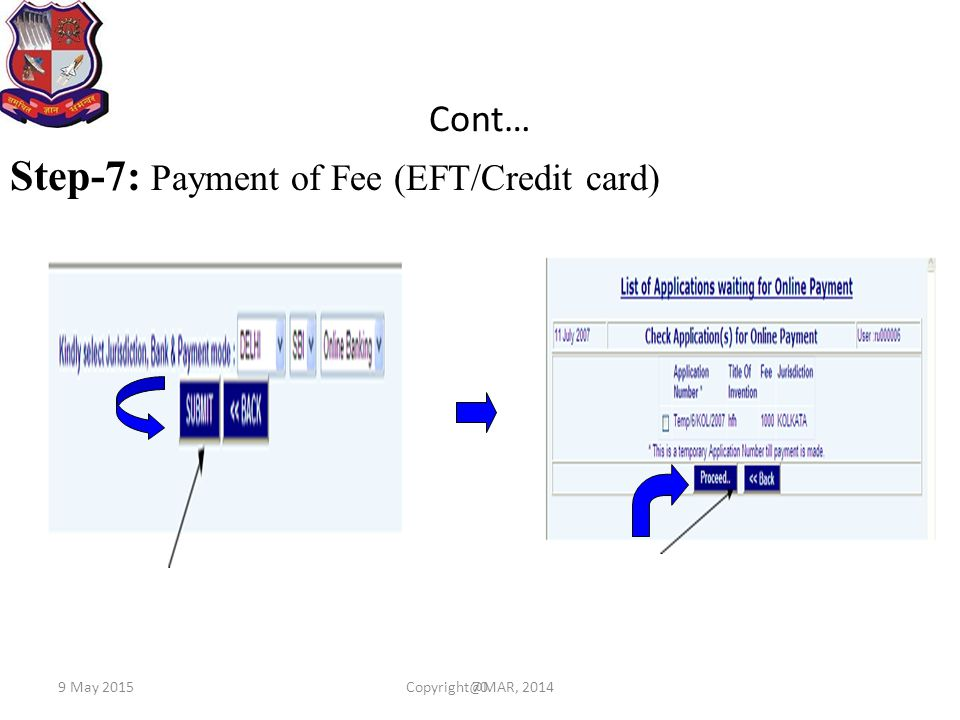 Step-7: Payment of Fee (EFT/Credit card)