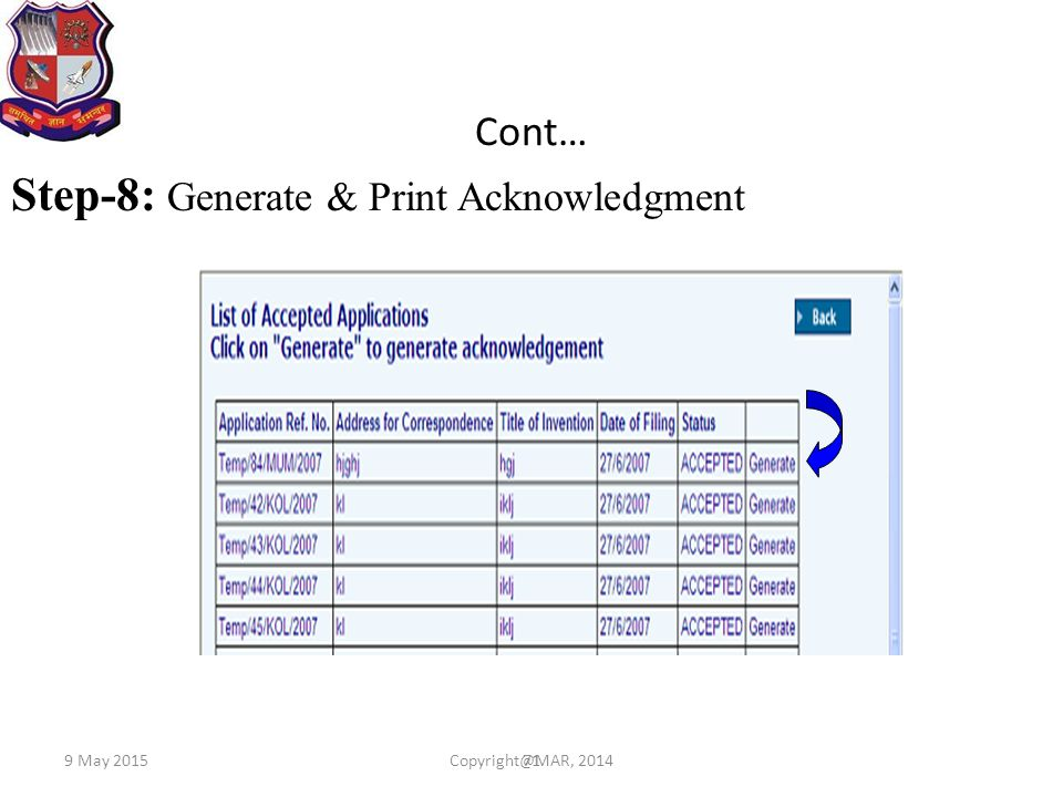Step-8: Generate & Print Acknowledgment