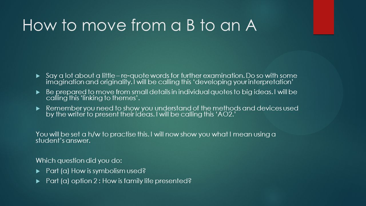 How to move from a B to an A