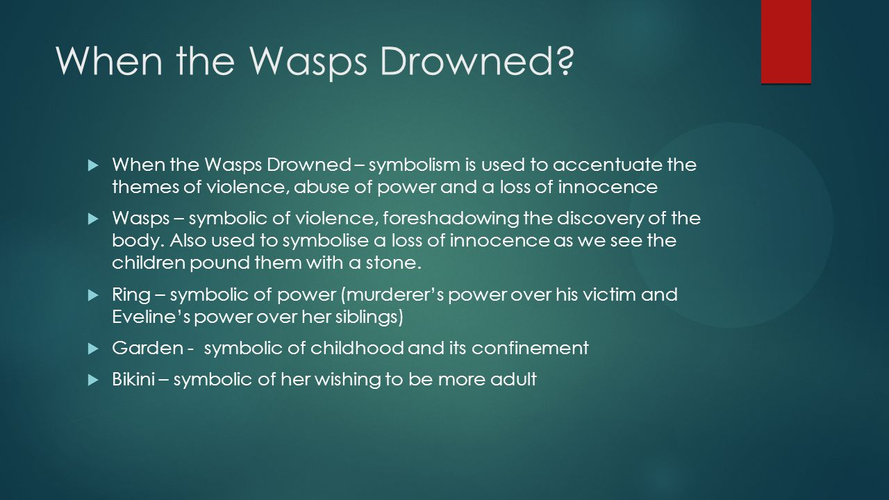 When the Wasps Drowned When the Wasps Drowned – symbolism is used to accentuate the themes of violence, abuse of power and a loss of innocence.