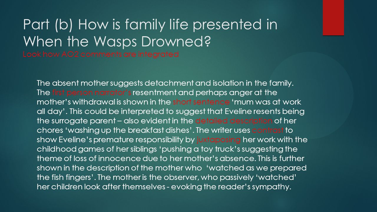 Part (b) How is family life presented in When the Wasps Drowned