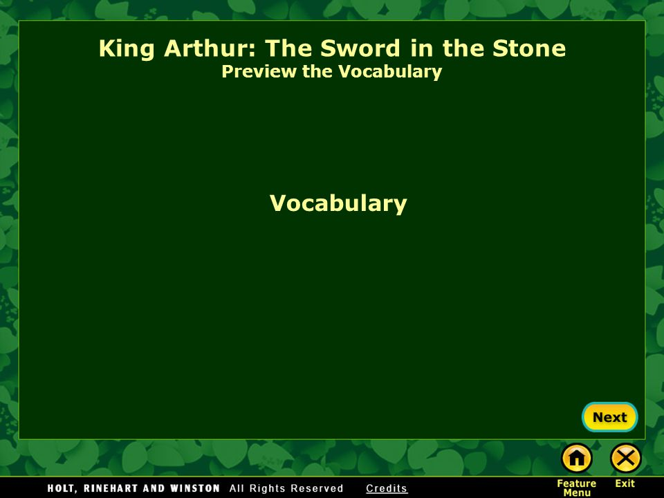 King Arthur: The Sword in the Stone Preview the Vocabulary