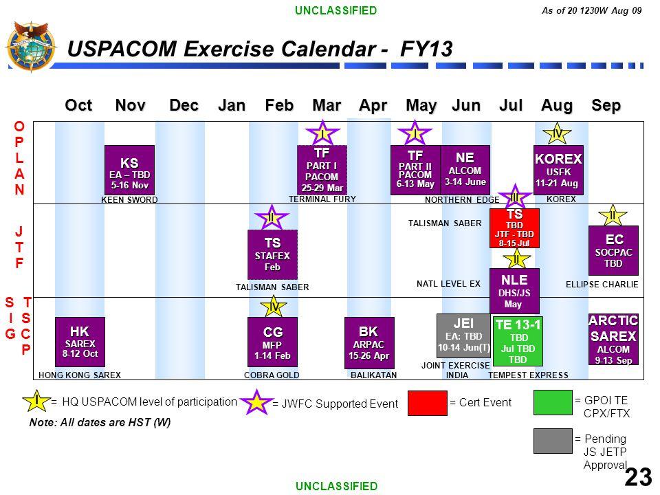 23 USPACOM Exercise Calendar - FY13