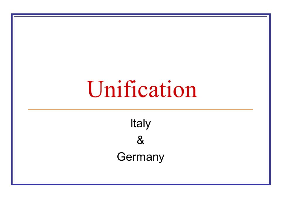 Unification Italy & Germany