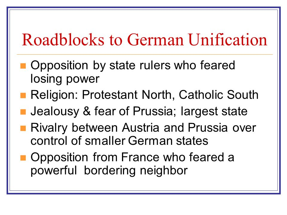 Roadblocks to German Unification