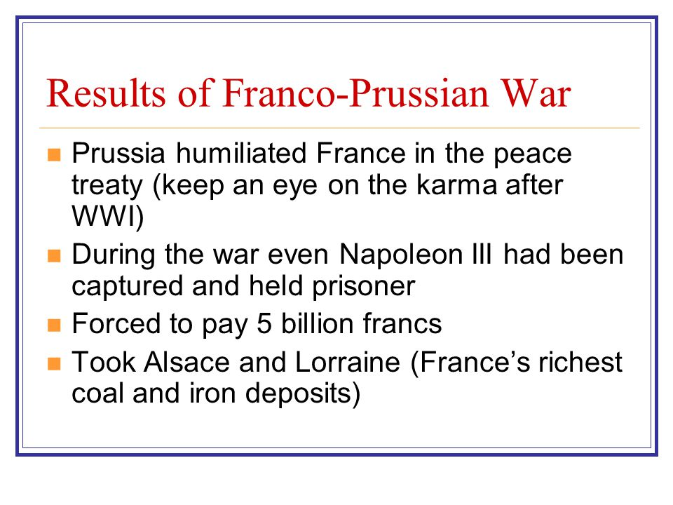 Results of Franco-Prussian War