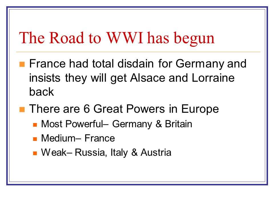 The Road to WWI has begun