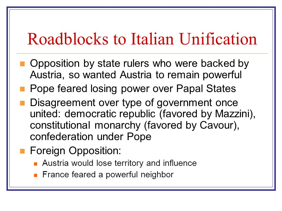 Roadblocks to Italian Unification