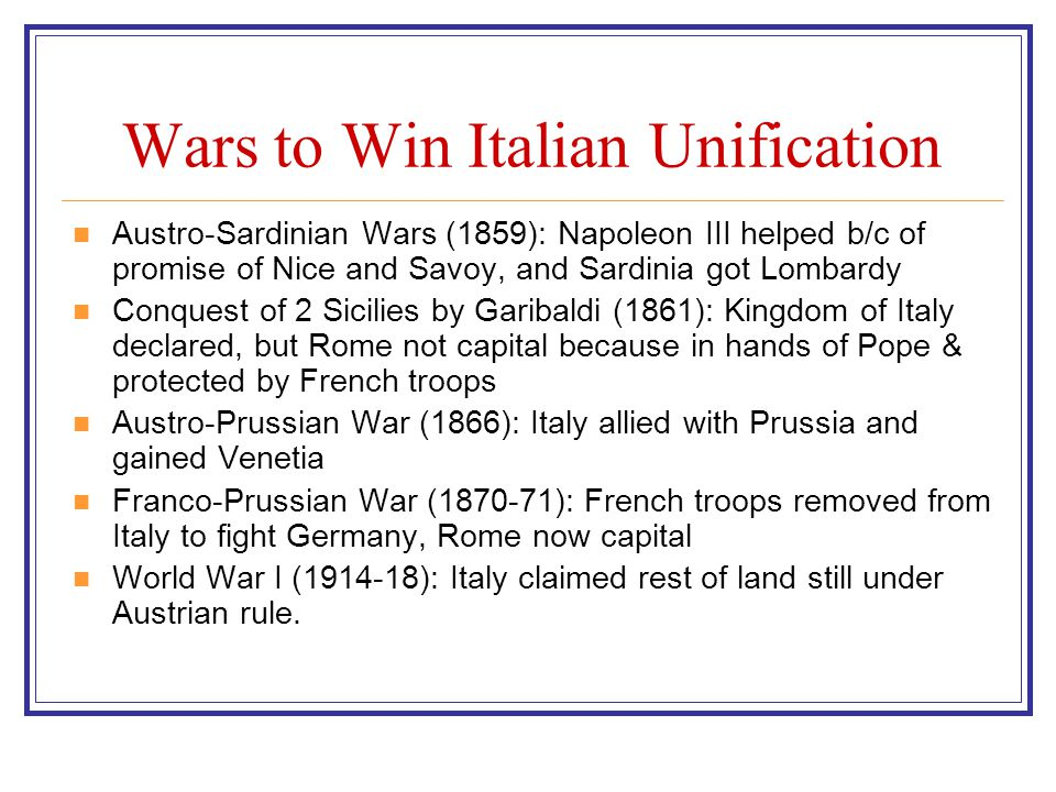 Wars to Win Italian Unification