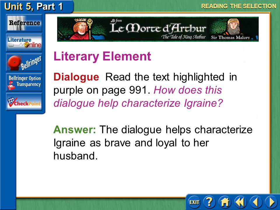READING THE SELECTION Literary Element. Dialogue Read the text highlighted in purple on page 991. How does this dialogue help characterize Igraine