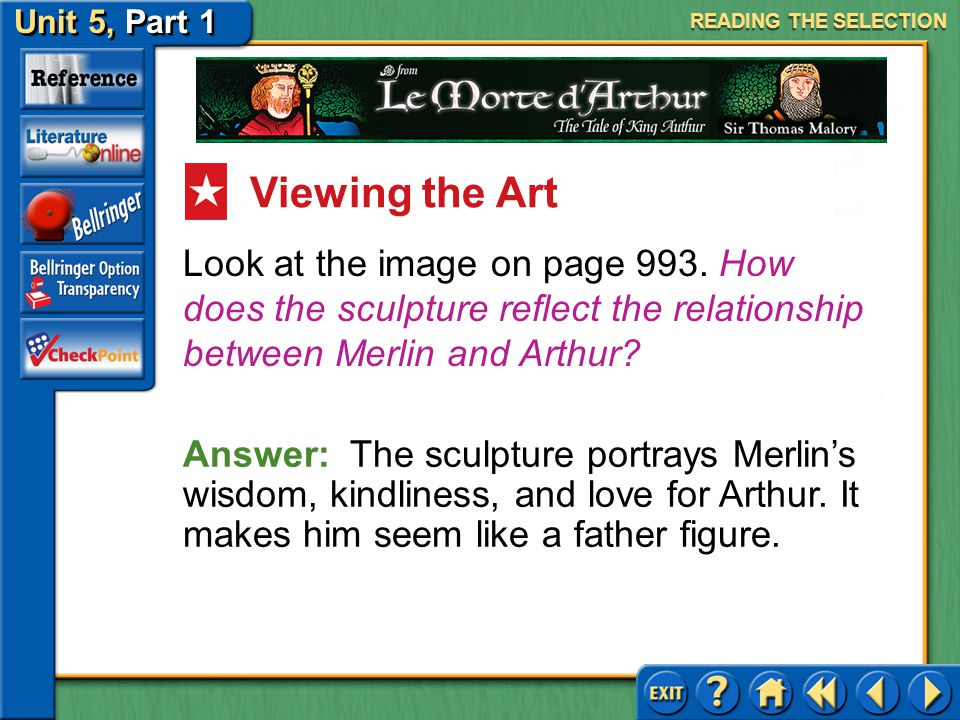 READING THE SELECTION Viewing the Art. Look at the image on page 993. How does the sculpture reflect the relationship between Merlin and Arthur