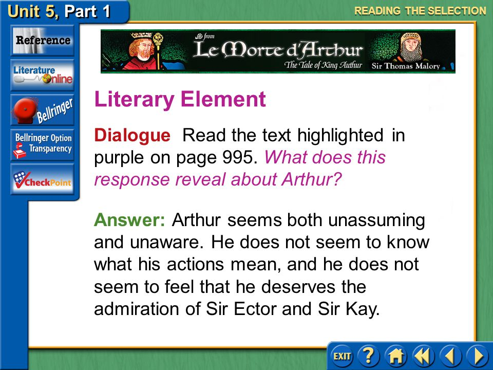 READING THE SELECTION Literary Element. Dialogue Read the text highlighted in purple on page 995. What does this response reveal about Arthur