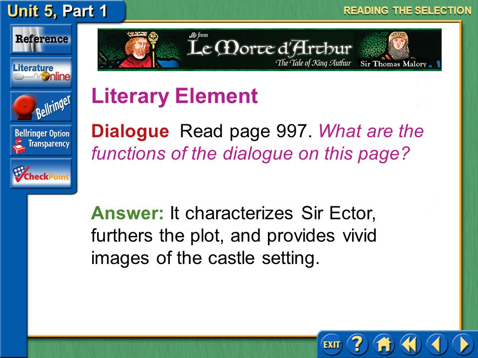 READING THE SELECTION Literary Element. Dialogue Read page 997. What are the functions of the dialogue on this page