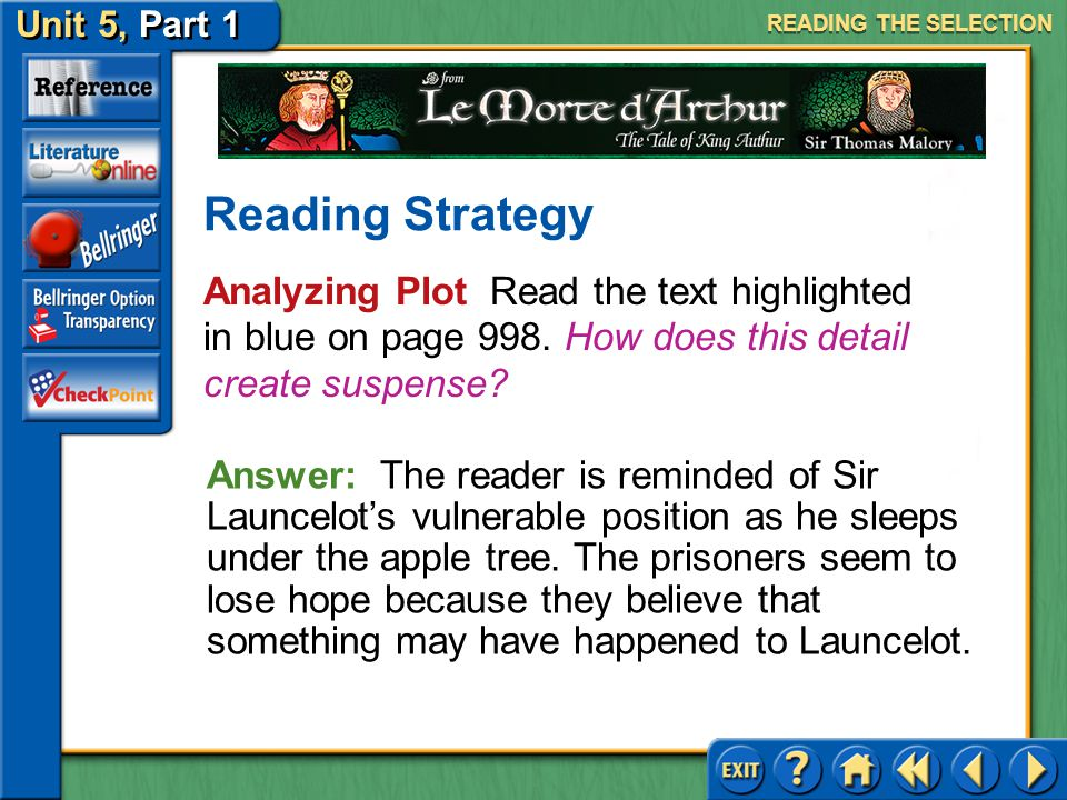 READING THE SELECTION Reading Strategy. Analyzing Plot Read the text highlighted in blue on page 998. How does this detail create suspense