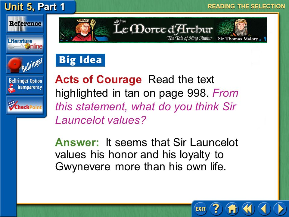 READING THE SELECTION Acts of Courage Read the text highlighted in tan on page 998. From this statement, what do you think Sir Launcelot values