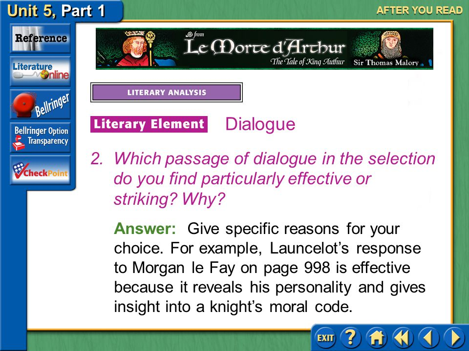 AFTER YOU READ Dialogue. Which passage of dialogue in the selection do you find particularly effective or striking Why
