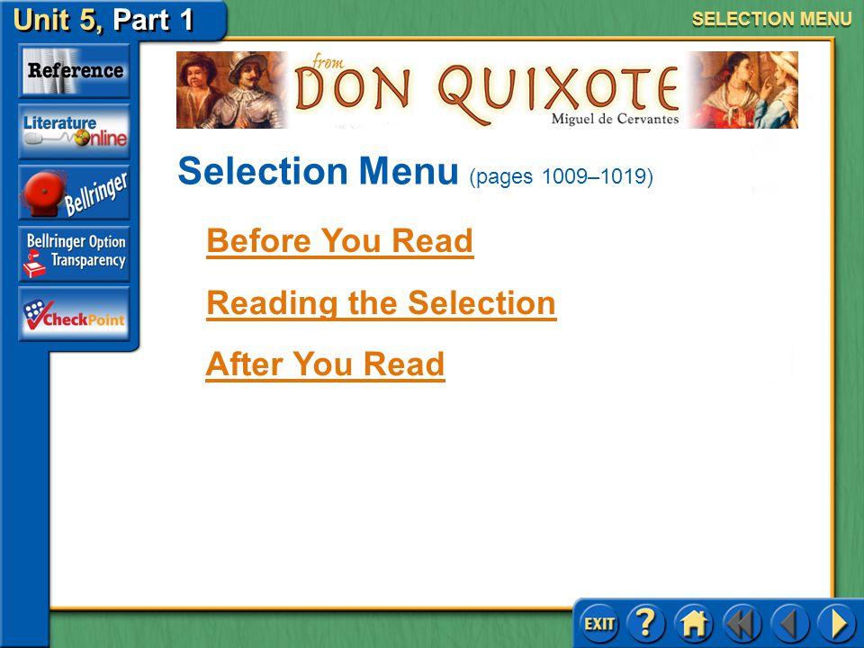 Selection Menu (pages 1009–1019)