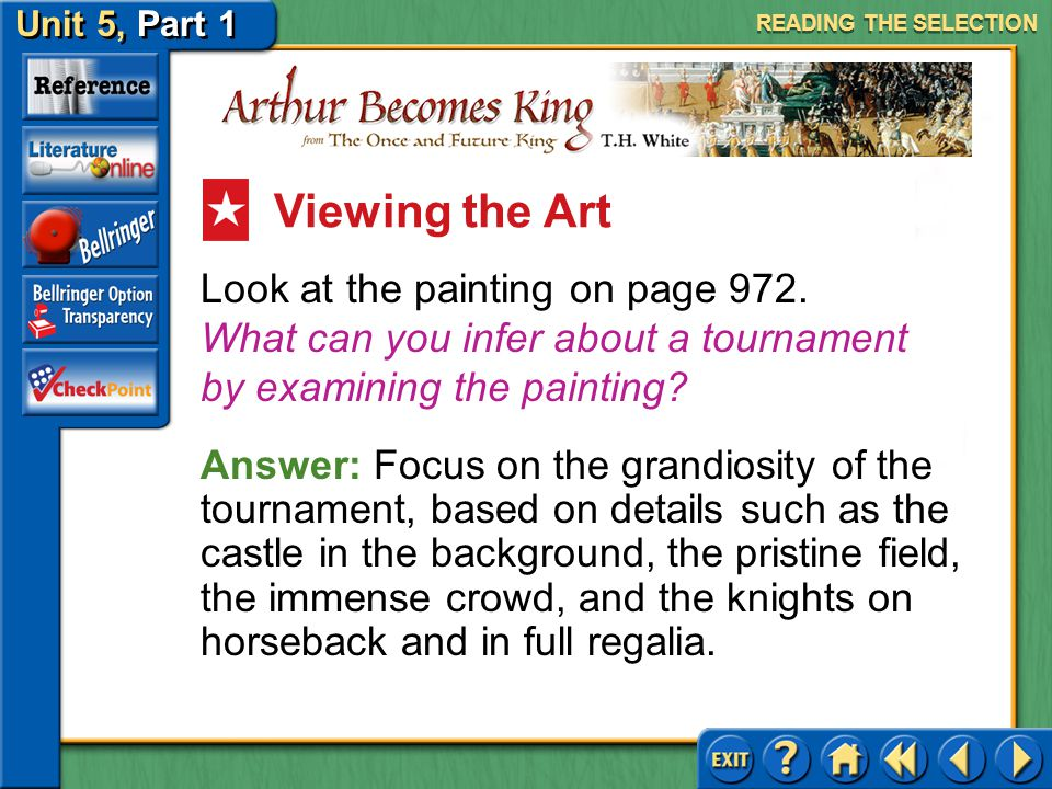 READING THE SELECTION Viewing the Art. Look at the painting on page 972. What can you infer about a tournament by examining the painting