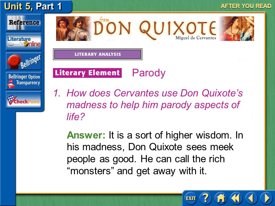 AFTER YOU READ Parody. How does Cervantes use Don Quixote's madness to help him parody aspects of life