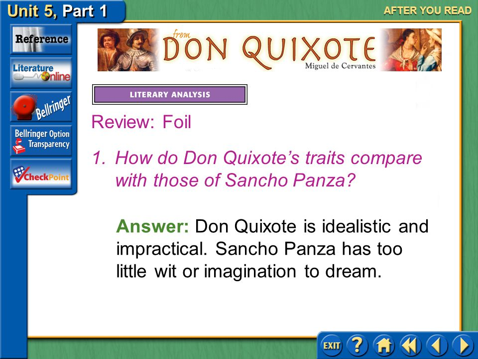 How do Don Quixote's traits compare with those of Sancho Panza