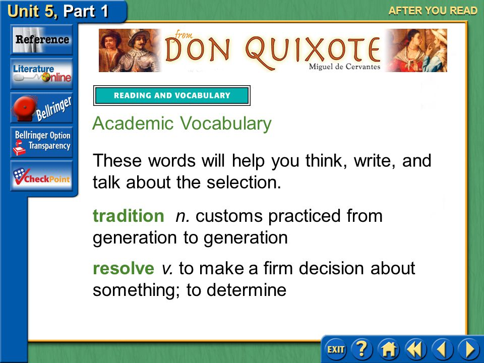 AFTER YOU READ Academic Vocabulary. These words will help you think, write, and talk about the selection.