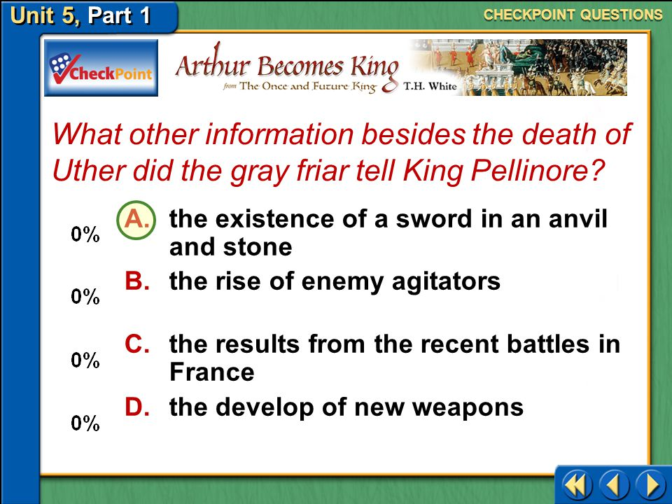 CHECKPOINT QUESTIONS What other information besides the death of Uther did the gray friar tell King Pellinore