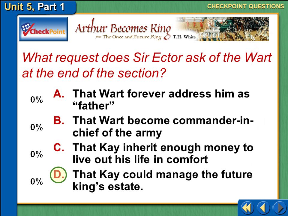 What request does Sir Ector ask of the Wart at the end of the section