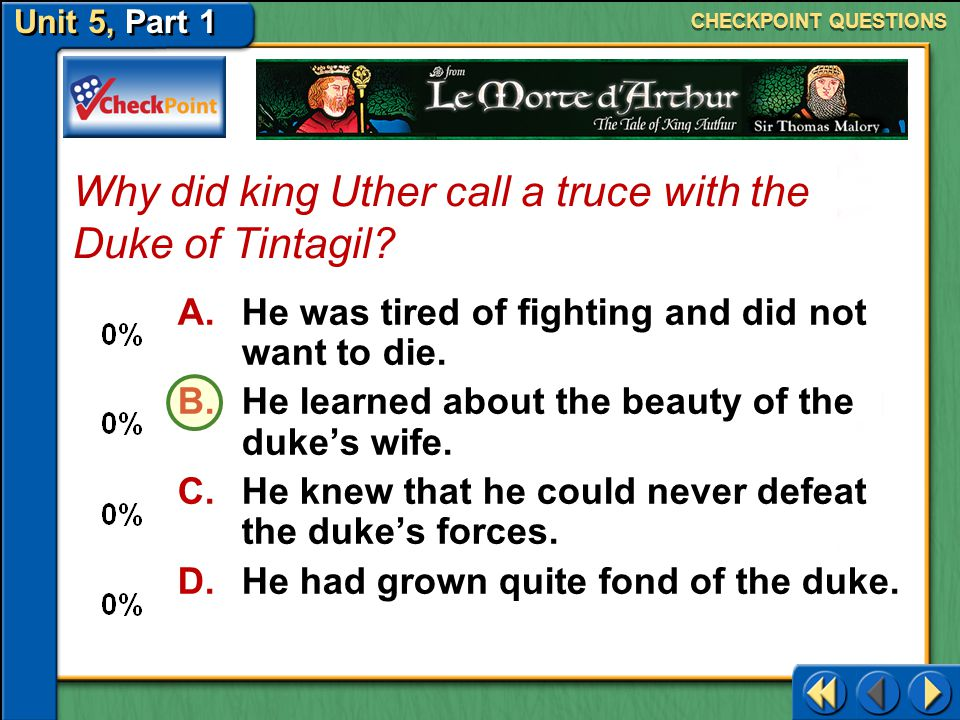 Why did king Uther call a truce with the Duke of Tintagil