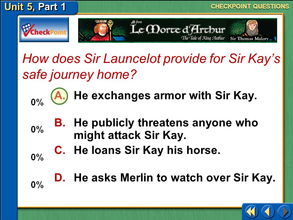 How does Sir Launcelot provide for Sir Kay's safe journey home