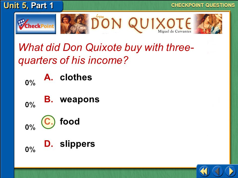 What did Don Quixote buy with three-quarters of his income