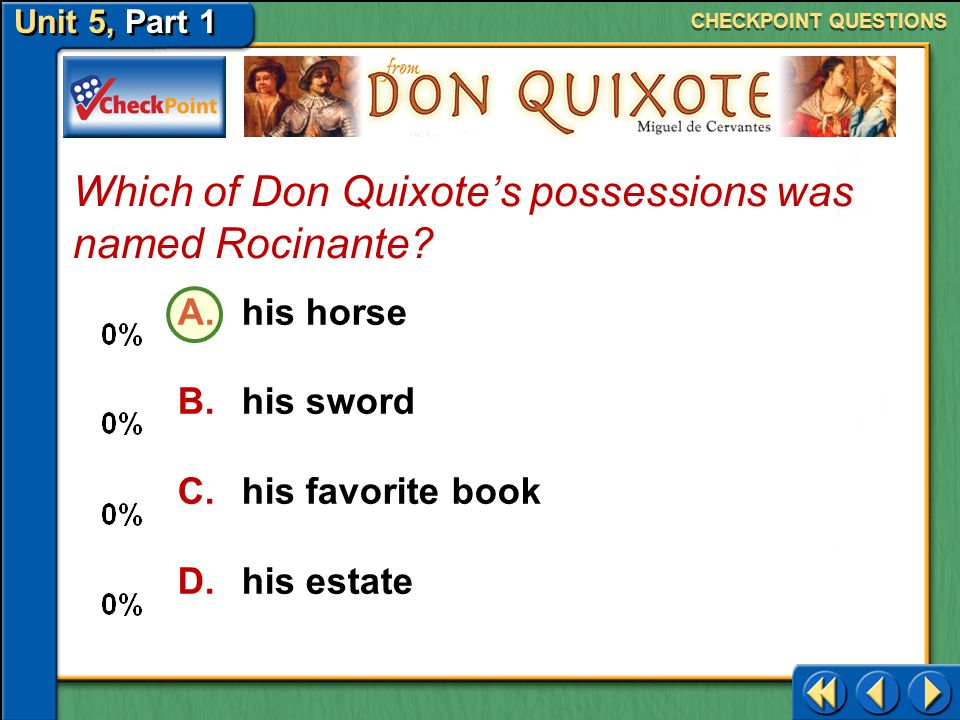 Which of Don Quixote's possessions was named Rocinante