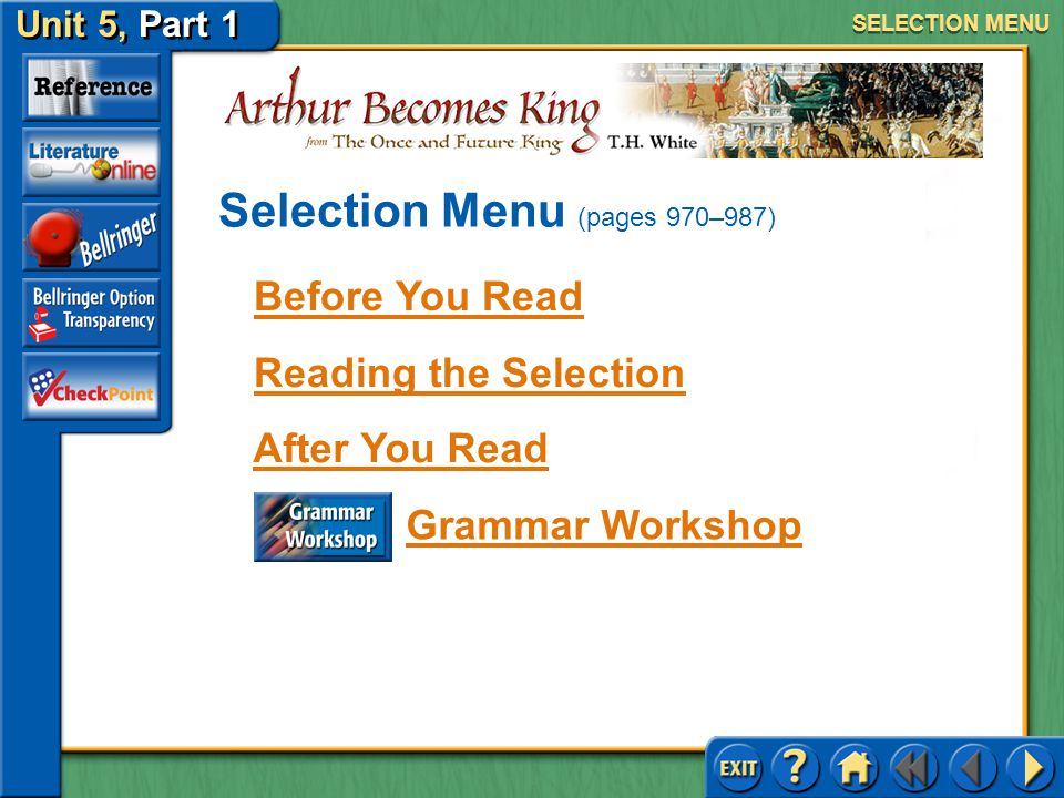 Selection Menu (pages 970–987)