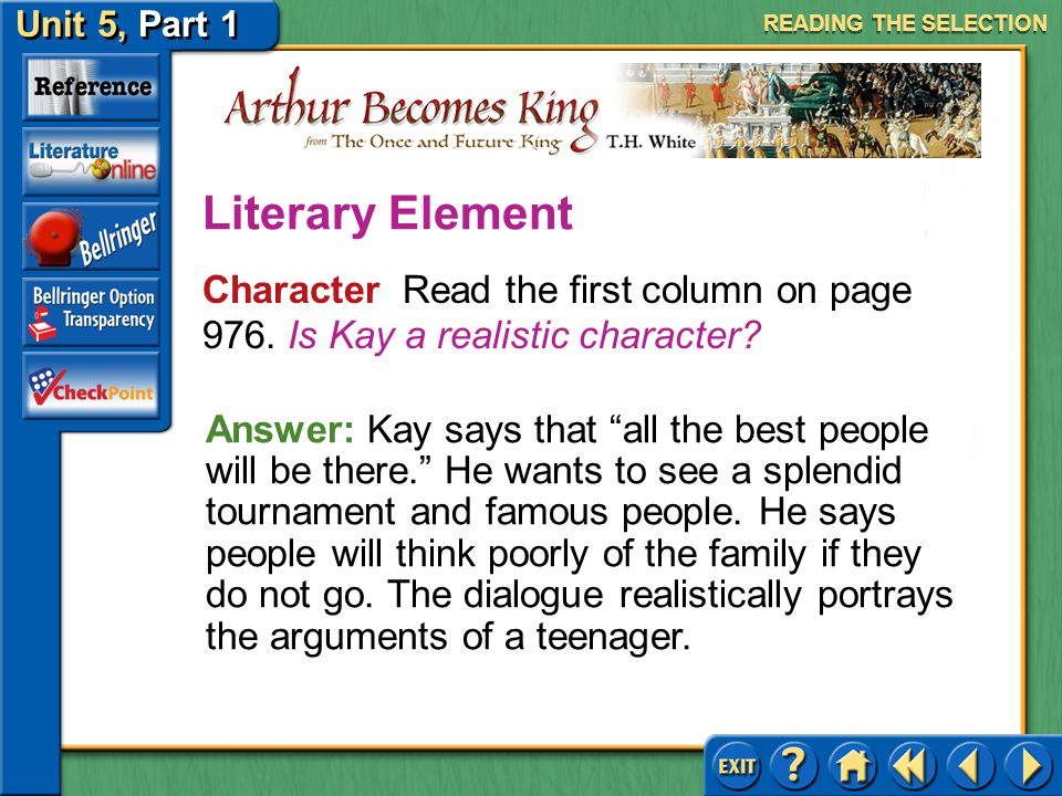 READING THE SELECTION Literary Element. Character Read the first column on page 976. Is Kay a realistic character