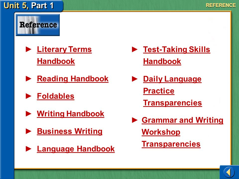 Unit 5, Part 1 Literary Terms Handbook Test-Taking Skills Handbook