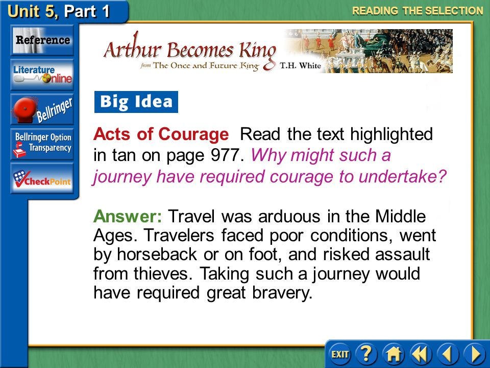 READING THE SELECTION Acts of Courage Read the text highlighted in tan on page 977. Why might such a journey have required courage to undertake