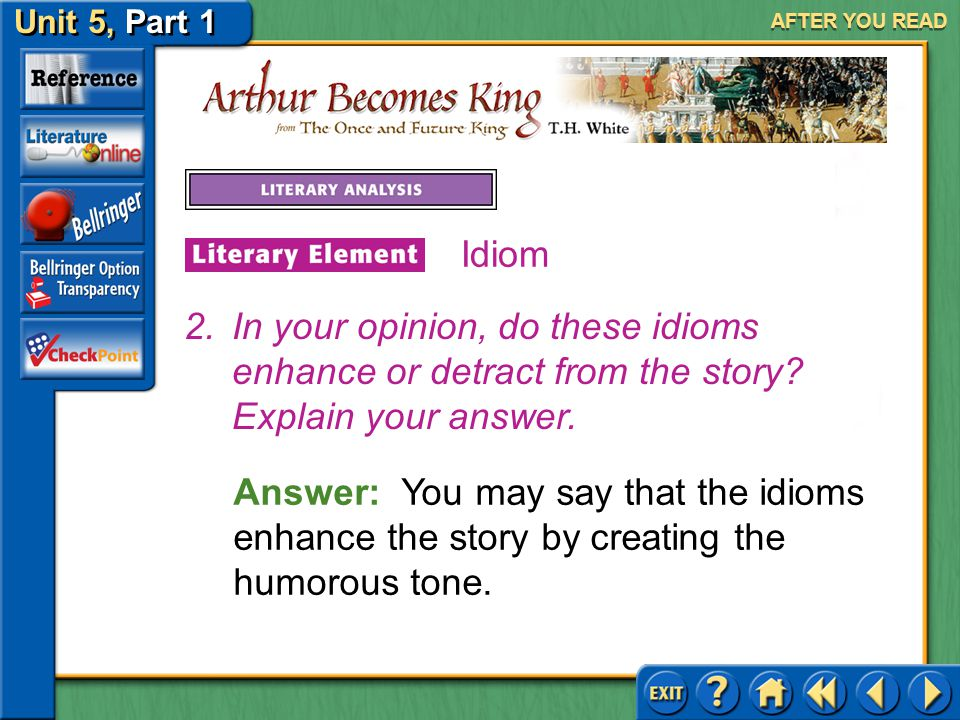 AFTER YOU READ Idiom. In your opinion, do these idioms enhance or detract from the story Explain your answer.