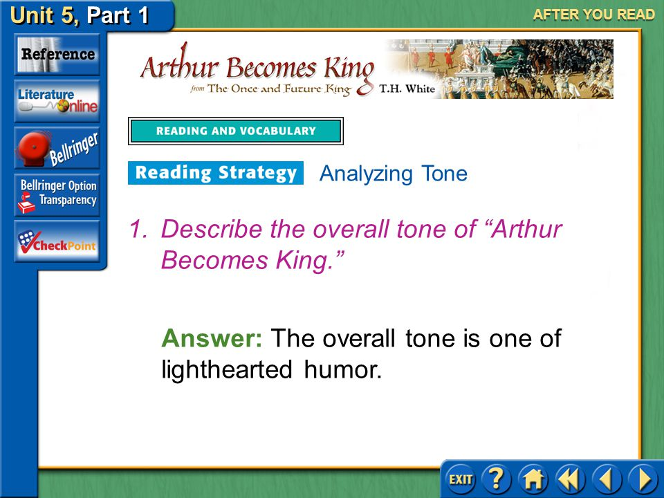 Describe the overall tone of Arthur Becomes King.