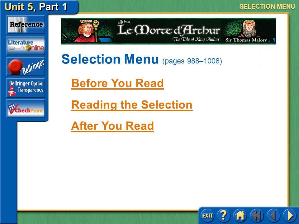 Selection Menu (pages 988–1008)