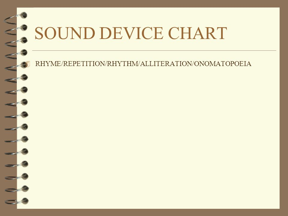 SOUND DEVICE CHART RHYME/REPETITION/RHYTHM/ALLITERATION/ONOMATOPOEIA
