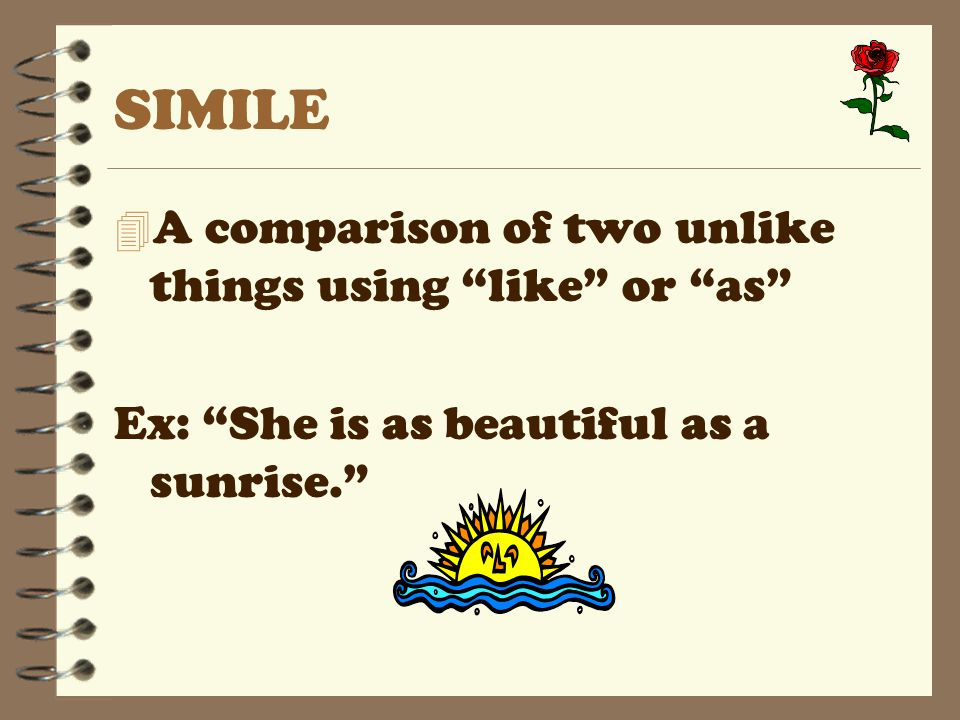 SIMILE A comparison of two unlike things using like or as