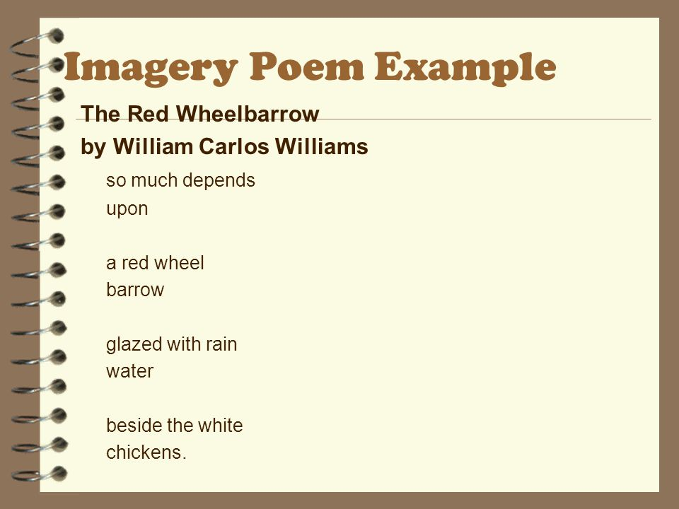 Imagery Poem Example The Red Wheelbarrow by William Carlos Williams