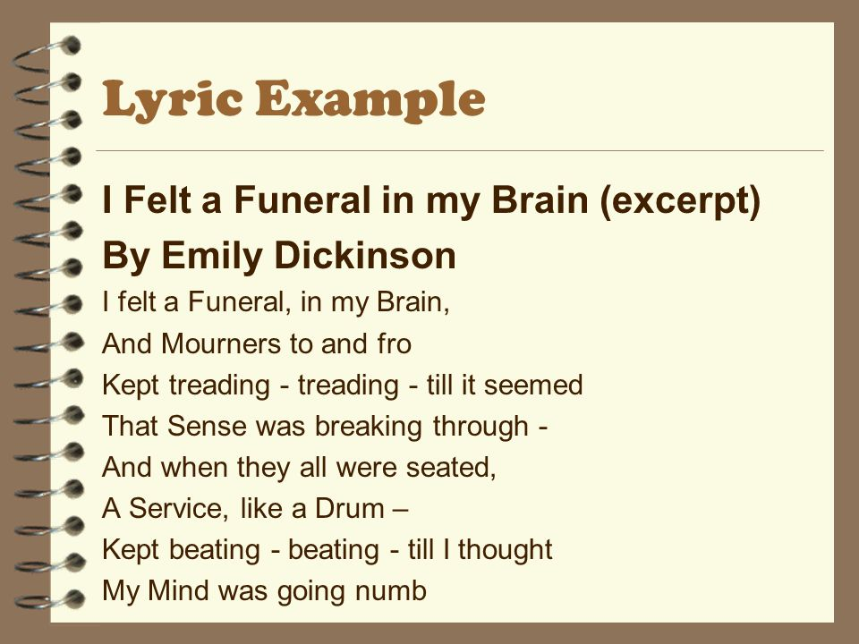 Lyric Example I Felt a Funeral in my Brain (excerpt)