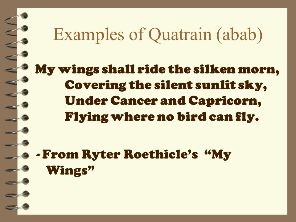 Examples of Quatrain (abab)