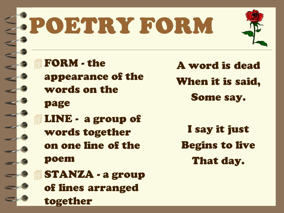 POETRY FORM FORM - the appearance of the words on the page