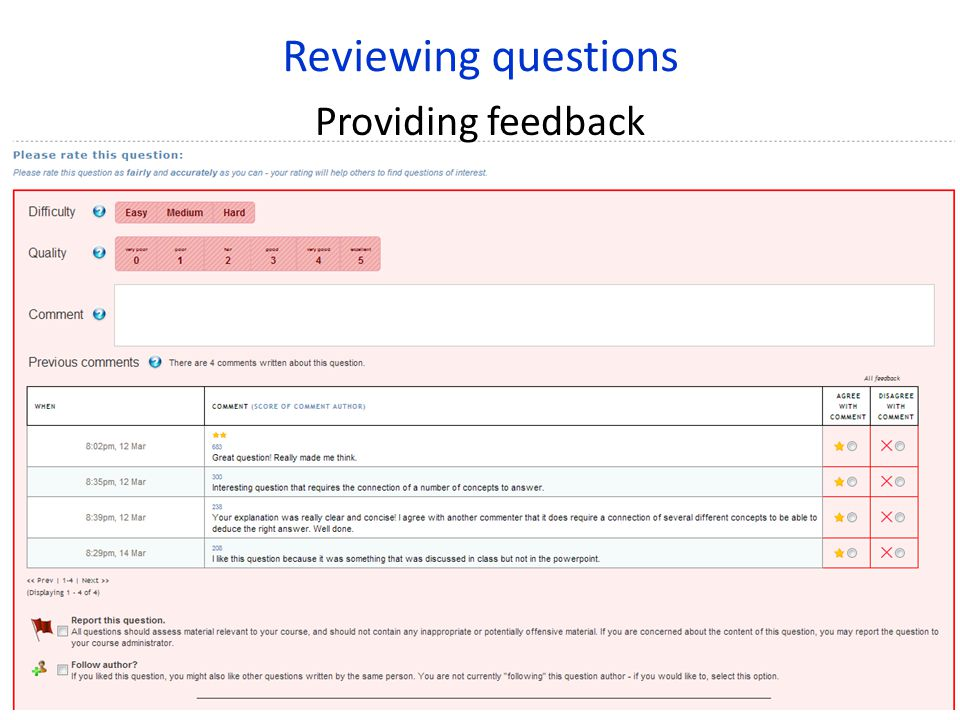 Reviewing questions Providing feedback
